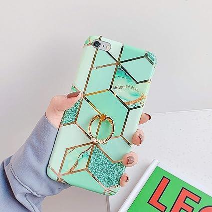 Saceebe Compatible avec iPhone 6S Plus 5.5 Coque Silicone Motif Géométrique Marbre Housse Etui avec Anneau Support Bague Glitter Paillette Brillant ...