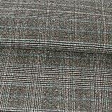 Wollstoff Glencheck Karo schwarz grau blau Modestoffe -