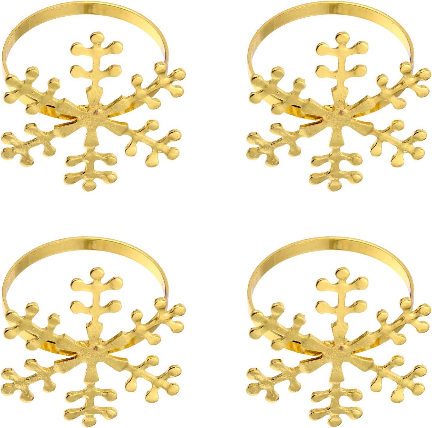 Yardwe 4pcs Christmas Napkin Snowflake Buck Holders Max 72% 67% OFF of fixed price OFF Rings