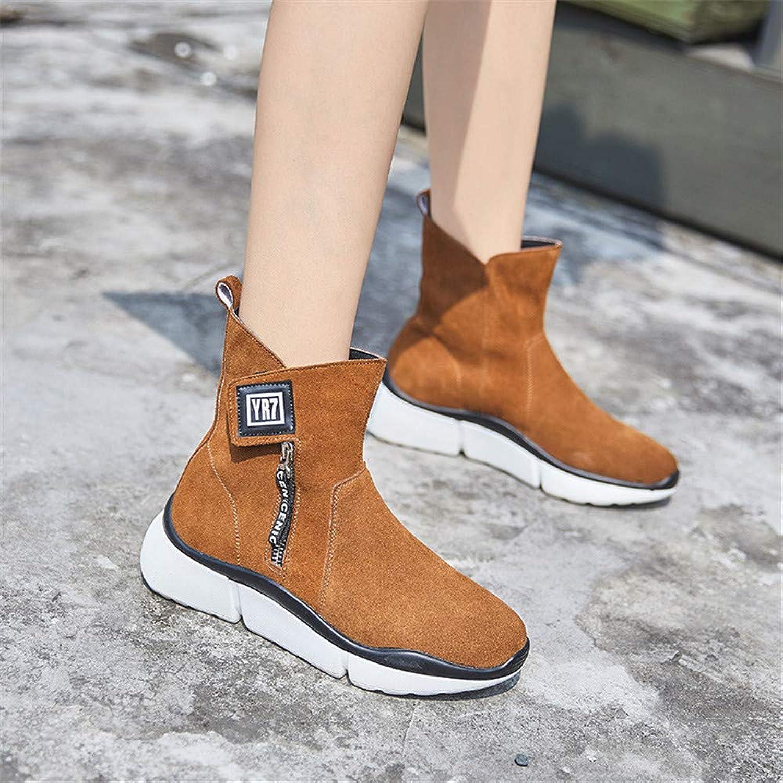 Leather Martin Boots, Versatile Platform Casual Heel Women's Boots (color   Brown)