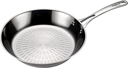 T-fal H80005 Performa X Stainless Steel Dishwasher Safe Oven Safe Fry Pan Saute Pan Cookware, 10.5-Inch, Silver