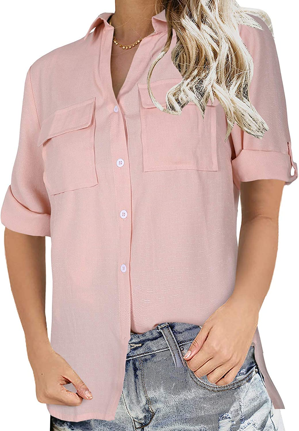 Niitawm Womens Button Down Blouse Shirts Short Sleeve V Neck Casual Loose Collared Tops with Pockets