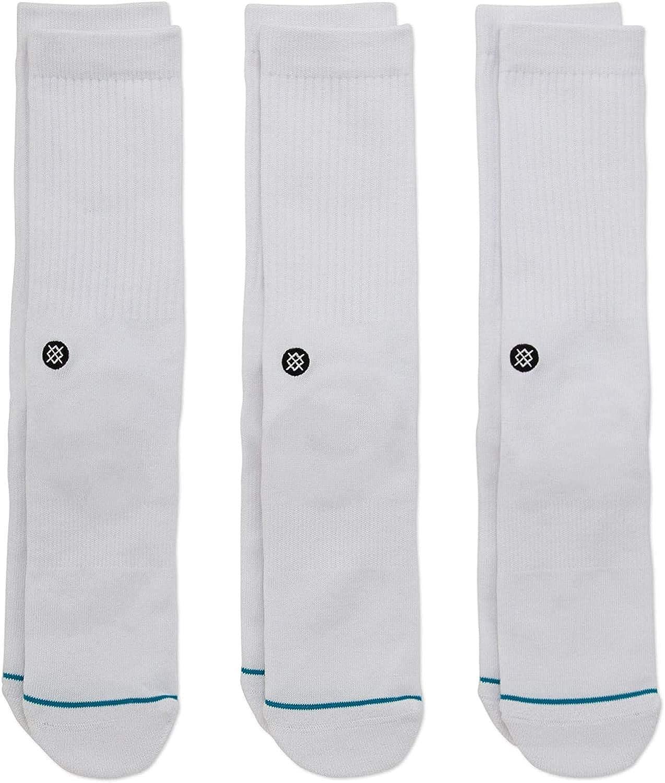 Stance Icon Crew Socks 3-Pack (White, l)