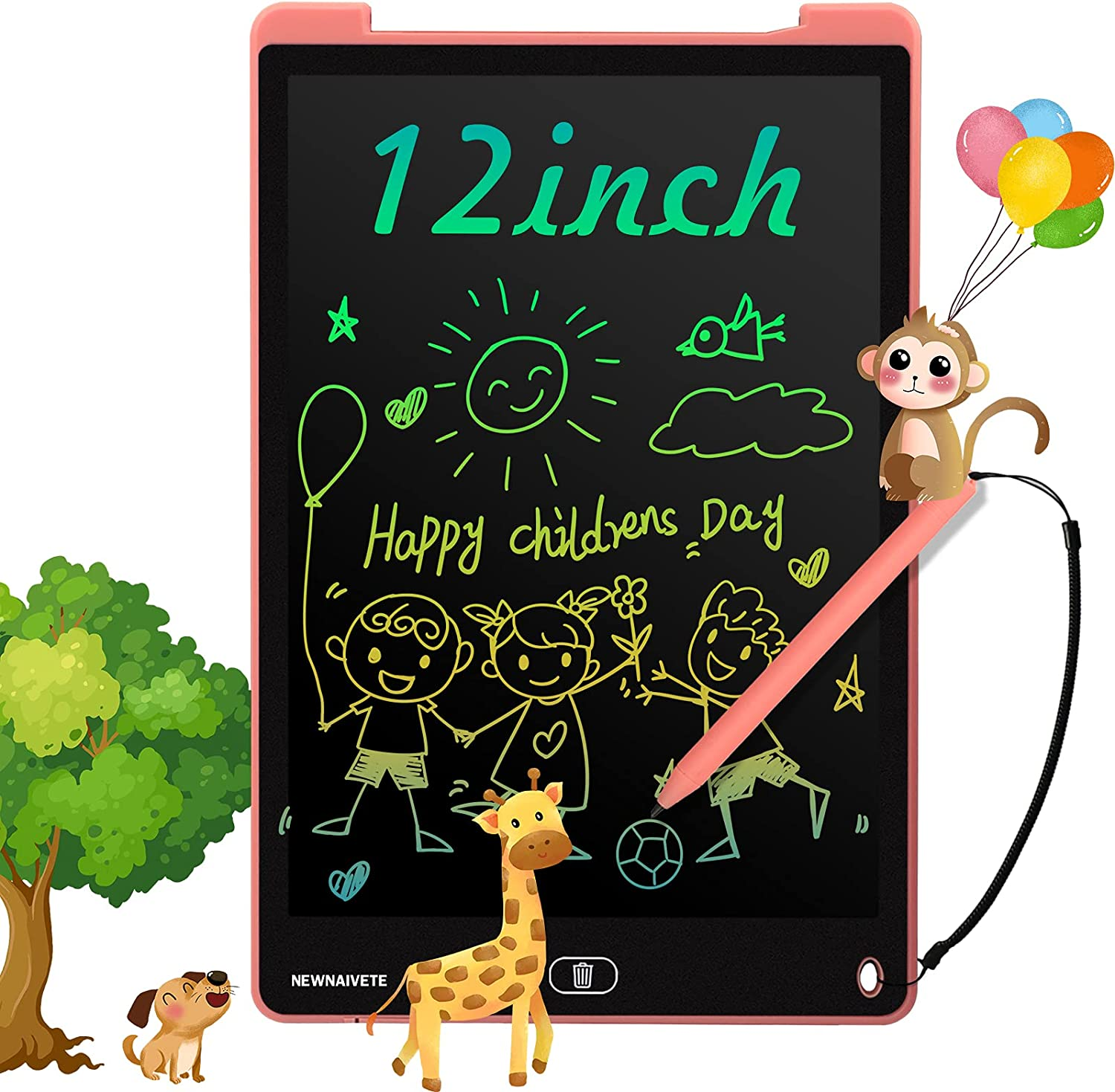Newnaivete LCD Writing Tablet, 12 Inch Toddler Doodle Board, Colorful Drawing Tablet, Erasable Electronic Drawing Writing Pads, Educational Toys Gifts for Kids Age 3 4 5 6 7 8 Year Old Girls Boys