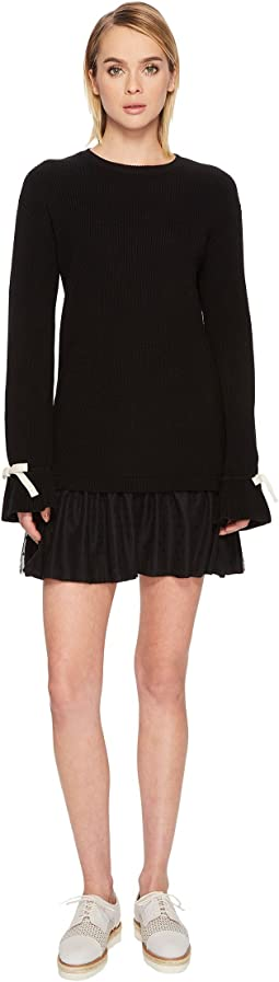 RED VALENTINO - Knit Dress with Slit Sleeve Point D'Esprit Flounce