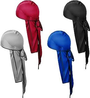 YMHPRIDE 4 pezzi Durag setoso, berretto Durag da uomo morbido pirata, fasce elastiche unisex a 360 onde con code lunghe e ...