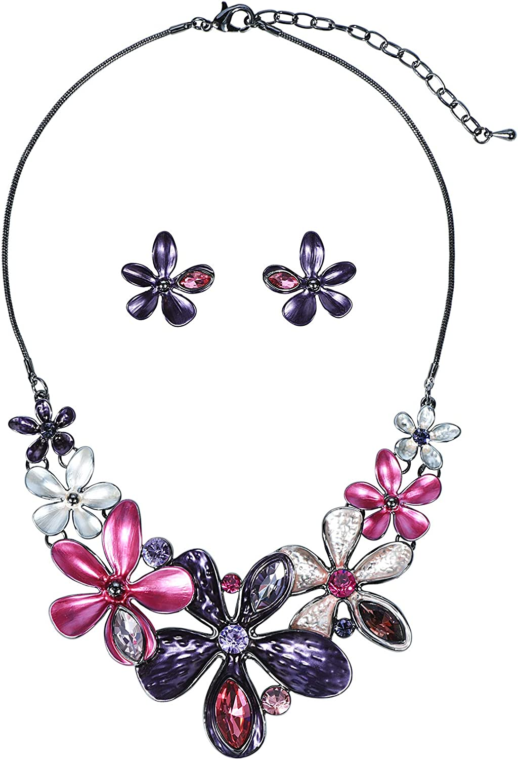 Vintage Colorful Five Petal Flower Enamel Blossom Flower Chunky Collar Bib Statement Necklace and Earrings Set for Women Wedding Bridal Prom