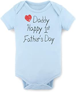Gift for Dad - Happy 1st Father's Day Baby Bodysuit Daddy's Day Baby Onesies 100% Cotton