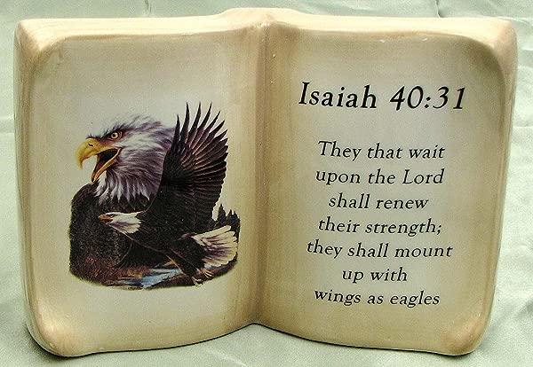 HomeCrafts4U Prayer Verse Ceramic Tabletop Book Statue Eagle Decorative Indoor Outdoor Altar Ornament Religious Sculpture Phrase Stand Quote Bible Accent Plaque