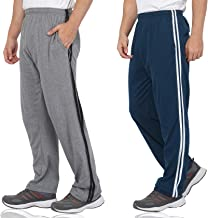 Fflirtygo Combo of Men's Cotton Track Pants, Joggers for Men, Men's Leisure Wear, Night Wear Pajama, Blue and Grey Color with Stripes and Pockets for Sports Gym Athletic Training Workout