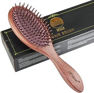 BESTOOL Brosse /à cheveux plate en bois avec picots en bois et coussin dair Pour massage du cuir chevelu Pour tous types de cheveux S Small