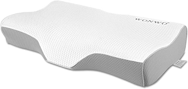 Wonwo Memory Foam Pillow Orthopedic Pillow Cervical Contour Bed Pillows For Sleeping Neck Support Pillow For Neck Pain With Washable Breathable Pillowcase