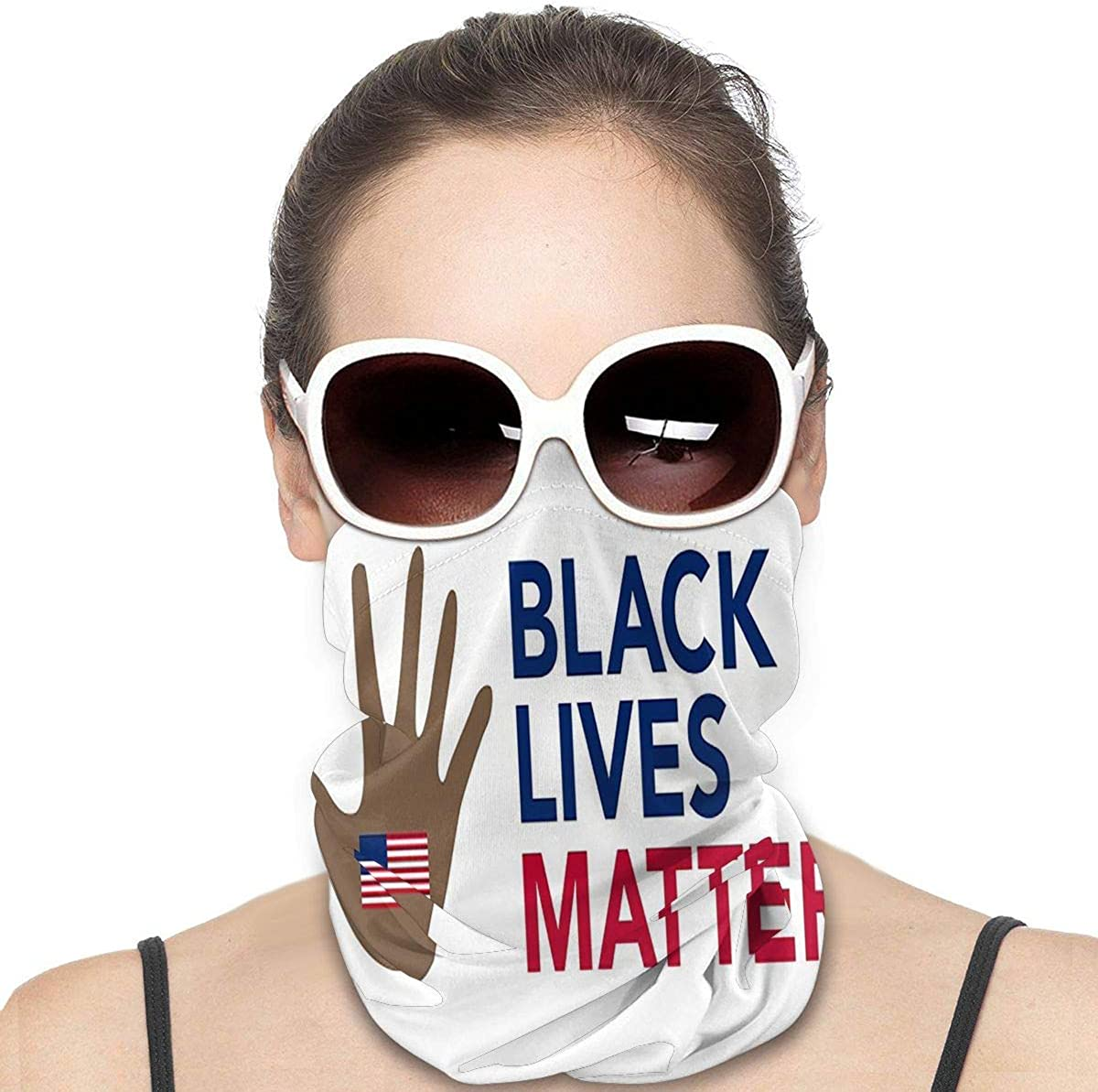 Kiuloam Women Bandanas Face Mask, Black Lives Matter Neck Gaiter Mask Headband for Men Face Scarf Dust, Outdoors, Sports