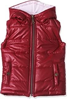 Giggles Solid Hooded Zip-Up Puffer Vest for Girls