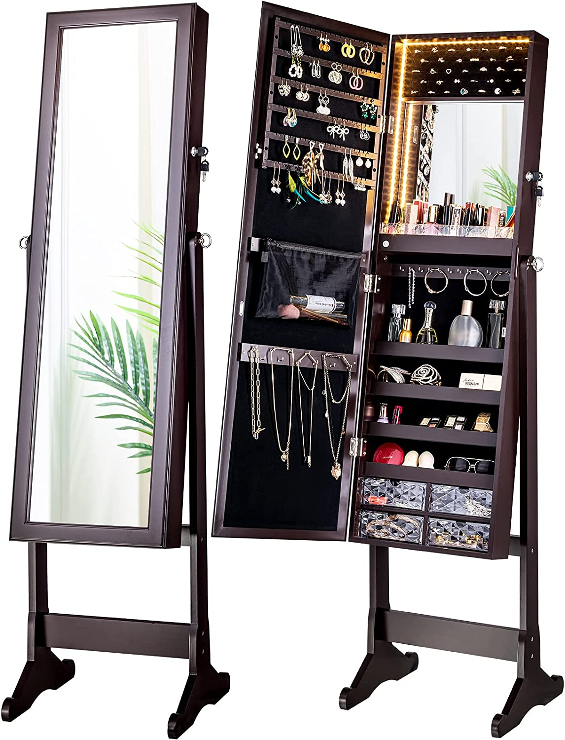 LUXFURNI LED Light Jewelry Cabinet Armoire, Standing Mirror Makeup Lockable Large Storage Organizer w/Drawers (white, L) : Clothing, Shoes & Jewelry