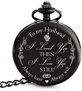 "Valentines Gift for Husband | Anniversary Gifts for Men | Engraved ""To my Husband"" Pocket Watch - Gift for Husband from Wife for Birthday / Happy Anniversary!"