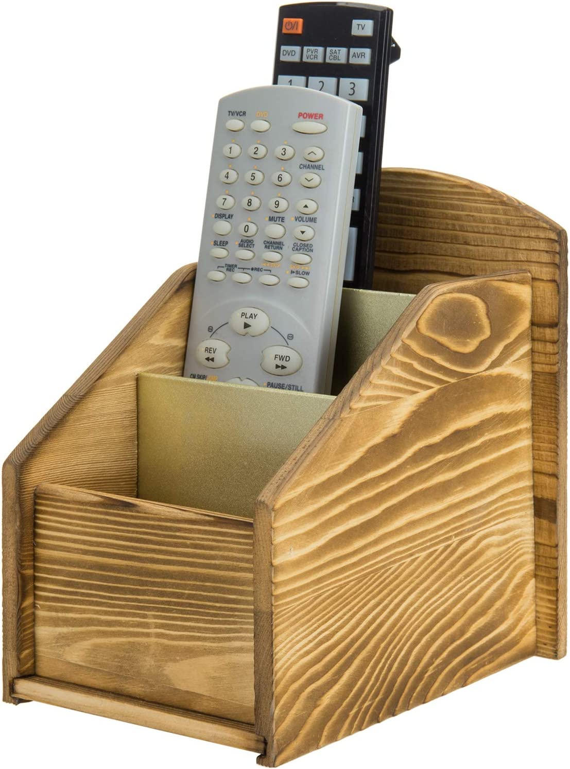 MyGift 3 Slot Remote Control Holder Wood with Rustic Caddy Ranking TOP9 Now free shipping Burnt
