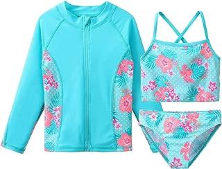Girls Swimsuit SPF UPF 50+ UV 3PCS Rash Guard Swimwear Sunsuits 3-11Y