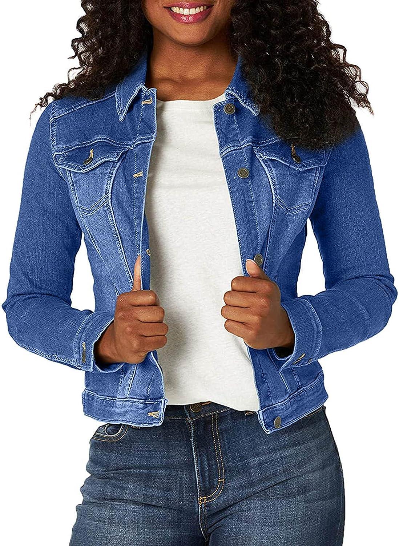 Yliquor Women's Denim Jacket Button Down Short Jean Jacket Long Sleeve Casual Jacket Blouse