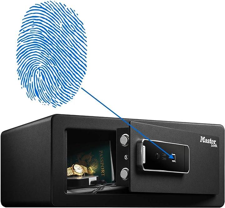 Cassaforte di sicurezza biometrica per oggetti di valore, 19,5 x 43 x 37 cm, nera, 25 l master lock lx110beurh LX110BEURHRO
