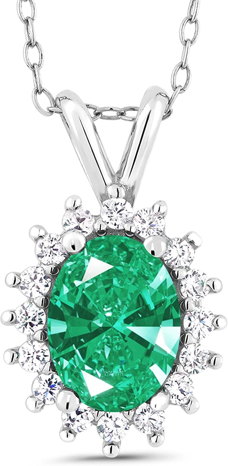 Carlo white Green Sterling Silver Pendant Made With Swarovski Zirconia 1.45 Cttw With 18 Inch Chain