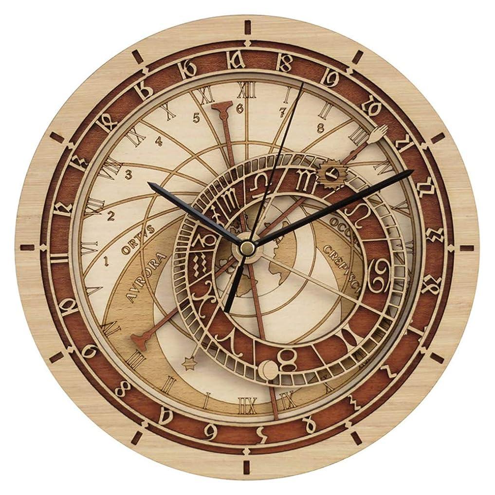 暴徒一流配管プラハ天文木製壁掛け時計、ラウンド12インチ/ 30CMフレームレス天文学12星座サイレントクォーツ時計、ファッションホームデコレーション壁掛け時