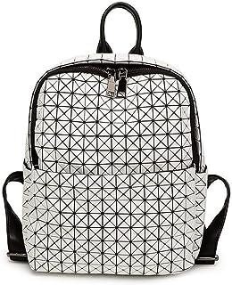 Asdfnfa Backpack, Women Geometric Backpack Lingge Laser School Backpack,Holographic Reflective Shoulder Bags Travel College Rucksack (Color : White)