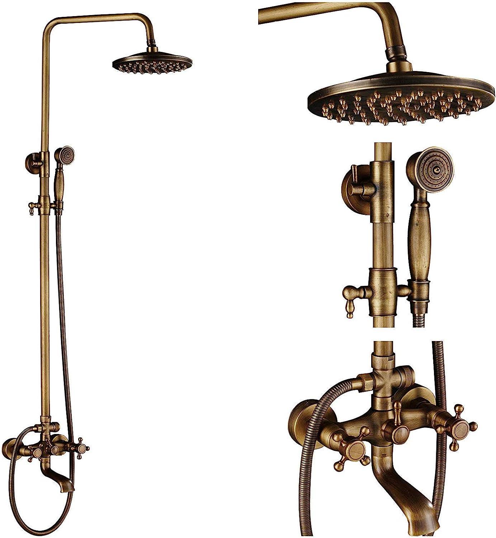 Duschsystem, Wandmontage Antik Messing Badezimmer Regendusche Badewanne Wasserhahn Set 8-Zoll-Top-Duschkopf + Handbrause, Luxus-Duschset