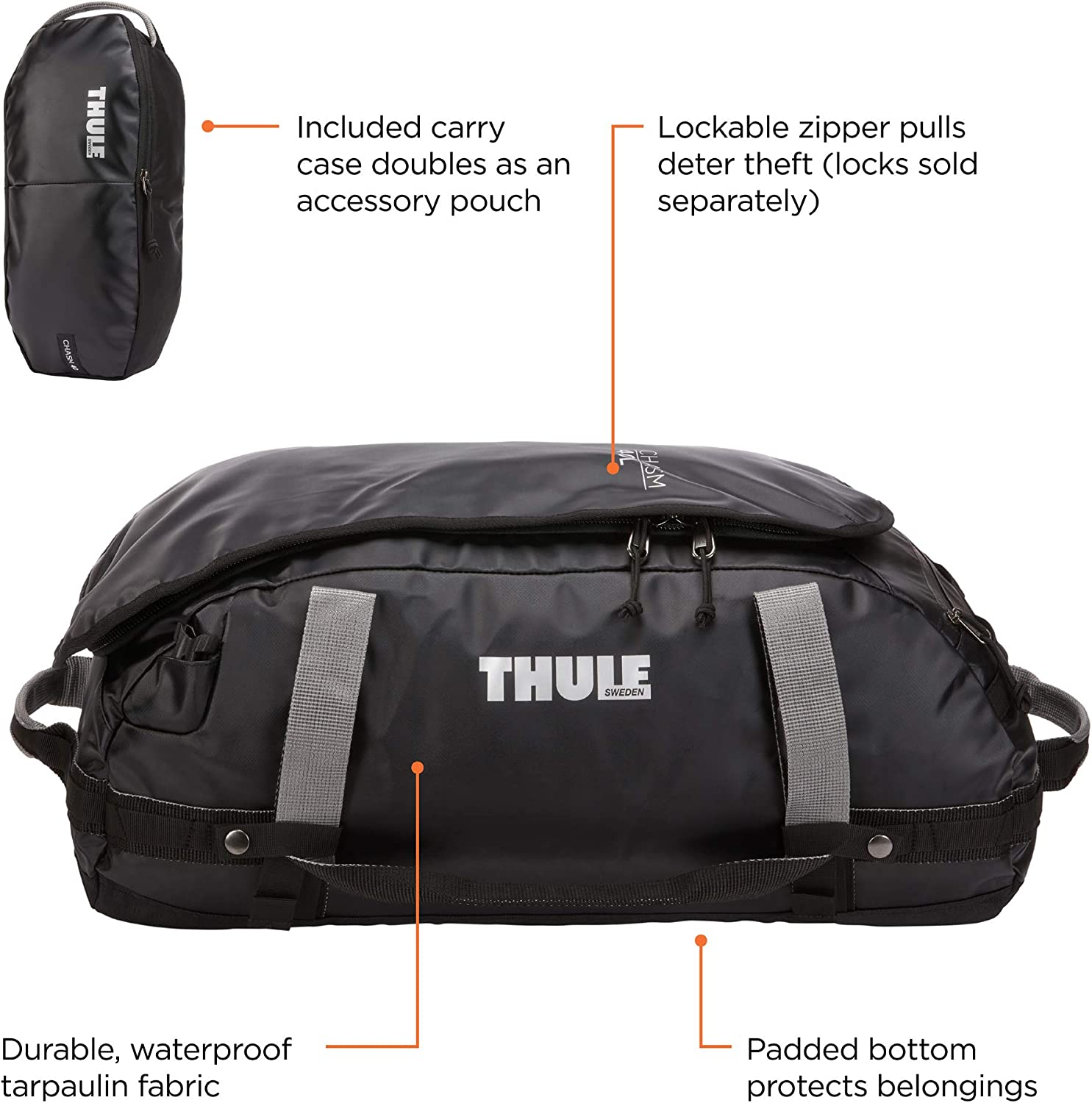 Thule Chasm Sport Duffel Bag 40L, Black, One Size : Sports & Outdoors