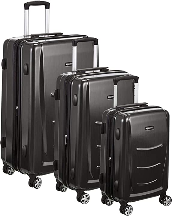 Set di trolley rigidi con rotelle girevoli, set da 3 pezzi (55 cm, 68 cm, 78 cm) amazon basics N991
