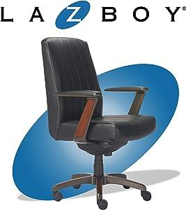 La-Z-Boy Bennett Modern Executive Lumbar Support, Rich Wood Inlay, High-Back Ergonomic Office Chair, Bonded Leather, Black