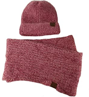 Set Soft Chenille Chunky Knit Stretchy Beanie w Scarf Infinity Loop Hat