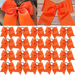 Large Cheer Bows Orange Ponytail Holder Girls Elastic Hair Ties 8