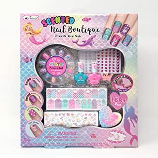 Hot Focus 036SRMM Scented Nail Boutique Mermaid 168+ Nail Art Kit Includes2 Nail Polishes, 12 Press On Nails, Nail Patches, Nail Stickers, Nail File & Ring. Non, Blue, Pink, Red, Purple