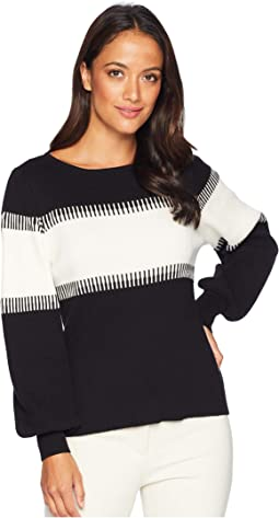 Long Sleeve Color Blocked Intasia Sweater