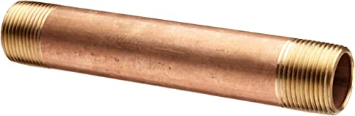 """Red Brass Pipe Fitting, Nipple, Schedule 40 Seamless, 3/4"""" NPT Male X 12"""" Length by Merit Brass"""