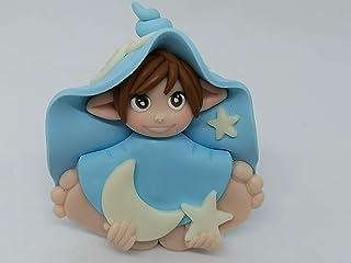 Folletto Gnomo elfo DOLCE NOTTE azzurro idea regalo Handmade personalizzabile con il nome. SI ILLUMINA AL BUIO. Made in It...