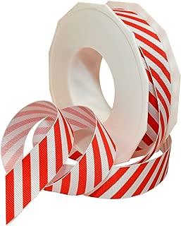 Morex Ribbon 80605/20-609 Candy Cane Stripes Grosgrain Ribbon, 7/8-Inch by 20-Yard, Red
