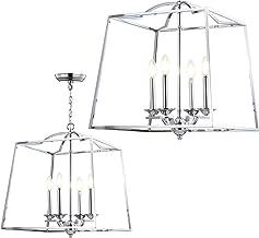 "JONATHAN Y JYL7411A Gloria 19"" 4-Light Metal LED Pendant, Traditional, Classic for Kitchen, Living Room, 4 Bulb, Chrome"