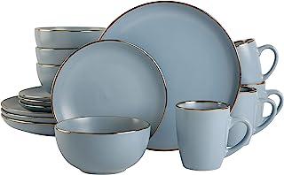Gibson Home Rockaway Round Stoneware Dinnerware Set, Service for 4 (16pcs), Matte Blue