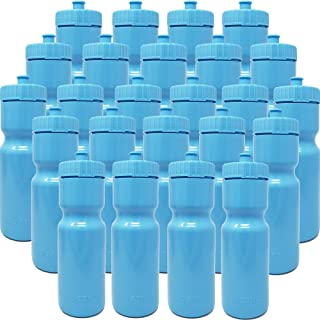 50 Strong Sports Squeeze Water Bottle Bulk Pack - 24 Bottles - 22 oz. BPA Free Easy Open Push/Pull Cap - Made in USA - Great for Adults & Kids - Top Rack Dishwasher Safe - Fits in Bike Cage