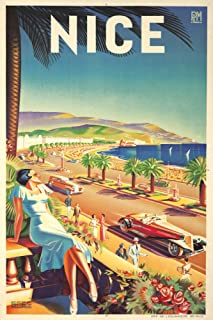 France - Nice - (artist: Hey, Efff D c. 1947) - Vintage Advertisement 64871 (12x18 SIGNED Print Master Art Print - Wall Decor Poster)