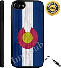 Custom iPhone 8 Case (Colorado State Flag on Wood) Edge-to-Edge Rubber Black Cover with Shock and Scratch Protection | Lightweight, Ultra-Slim | Includes Stylus Pen by INNOSUB