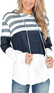 Pink Queen Women's Fashion Long Sleeve Striped Color Block Casual Loose Patchwork Knit Pullover Hooded Sweatshirts