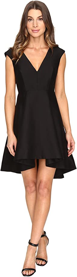 Cap Sleeve V-Neck Structured Dress with Hi-Lo Skirt