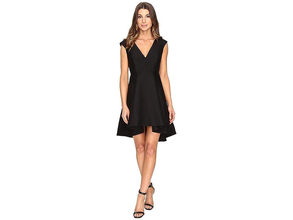 Halston Heritage Cap Sleeve V-Neck Structured Dress with Hi-Lo Skirt (Black) Women