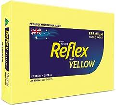 Reflex Australian Made Coloured Paper Reflex Yellow Coloured Office Copy Paper, A4, 80g, 500 Sheets, Yellow, (134463)