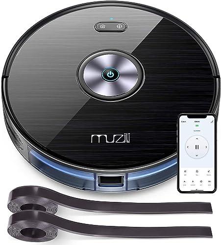 Aspirateur Robot, Muzili 2200Pa Robot Aspirateur Laveur, Alexa & APP & WiFi,Auto-Recharge, 600ml Capacité,120Min Auto...