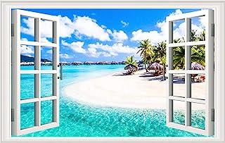 Fake Windows Wall Sticker Removable 3D Beach Seascape Faux Windows Wall Sticker Vinyl Self-Adhesive Beach Landscape Palm T...