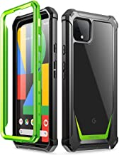 Poetic Guardian Series Case Designed for Google Pixel 4 XL 6.3 inch (2019 Release), Full-Body Hybrid Shockproof Bumper Cover with Built-in-Screen Protector, Green/Clear